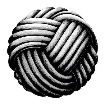 Annata di tiraggio della mano della sfera del nodo della corda isolata su fondo bianco