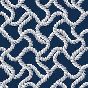 Corda senza cuciture, carta da parati alla moda. illustrazione senza fine dettagliata a macroistruzione della rete da pesca o di tessitura.