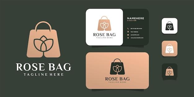 Modello di progettazione di logo e biglietto da visita di combinazione di fiori di lusso borsa rosa.
