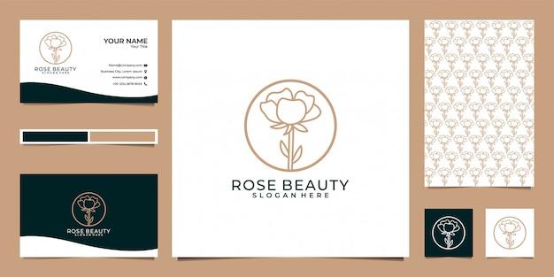 Rose beauty logo design, pattern e biglietto da visita
