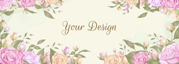 Design di banner sullo sfondo bouquet di rose