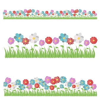 Rosa, garofano, dalia, camomilla, tulipano, iris, gazania, giglio, crisantemo, daffodil., set, di, bello, appartamento, primavera, e, estate, fiore, icone, isolato, bianco, fondo., appartamento, stile, illustrazione