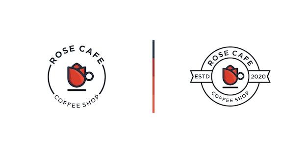 Modello di progettazione logo caffetteria rosa