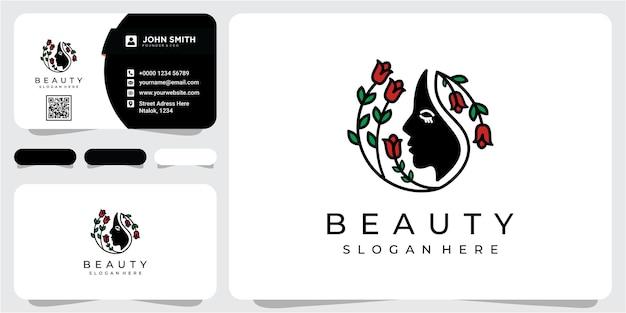 Logo del salone di bellezza del fiore di rosa e del trattamento dei capelli. concetto di design del logo di bellezza del viso