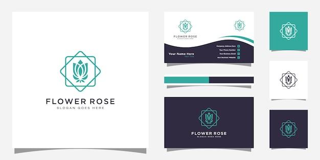 Design del logo del fiore di rosa e design del biglietto da visita