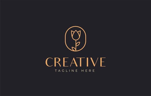 Design del logo del fiore di rosa l'arte della linea del segno del fiore combinata con gocce di olio essenziale sembra minimalista