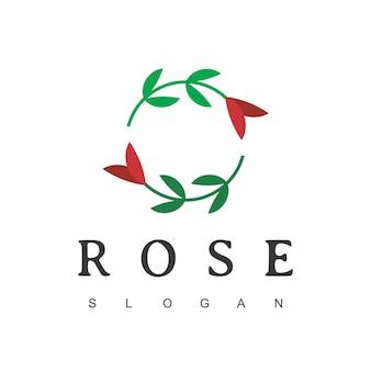 Modello di progettazione del logo del fiore di rosa