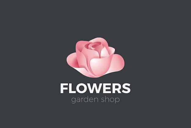 Icona di logo del giardino del negozio di fiori di rosa.