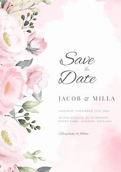 Cartolina d'auguri floreale del mazzo di rosa del modello della carta dell'acquerello del fiore di rosa.