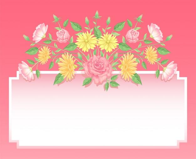 Decorazione di fiori e foglie di rosa con etichetta vuota buon uso per il design femminile