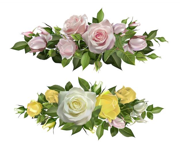 Bordi realistici di fiori di rosa. cornice decorativa floreale, fiori teneri con foglie e germoglio, elemento floreale in fiore per carta di nozze e elementi di amore botanico naturale invito