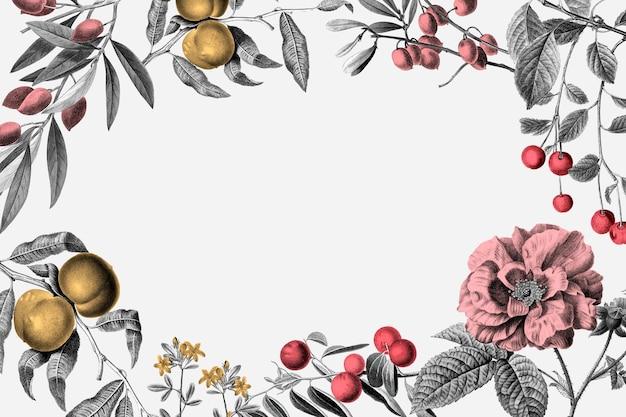 Cornice rosa vettoriale illustrazione botanica vintage rosa e frutti su sfondo bianco