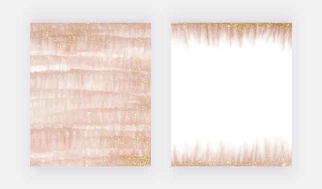 Spruzzi di acquerello con pennellata in oro rosa con texture glitter