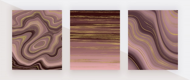 Struttura in marmo liquido color oro rosa. inchiostro glitter rosso e dorato che dipinge modello astratto.