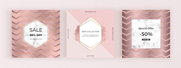 Banner di social media di promozione della moda in oro rosa