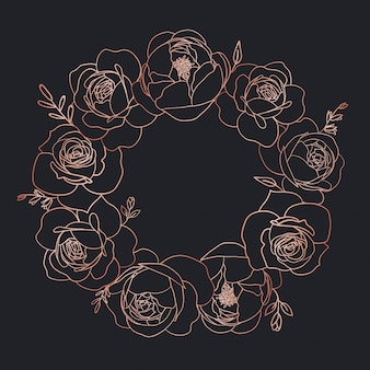 Corona floreale in oro rosa