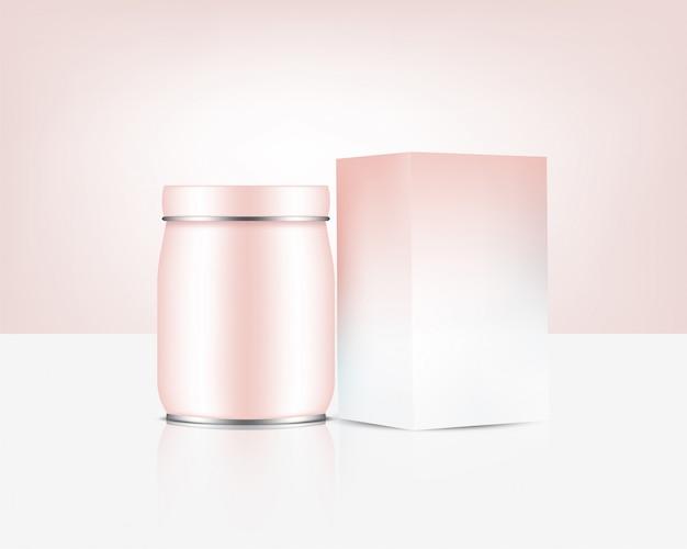 Bottiglia di vaso in oro rosa mock up cosmetico realistico o cibo e bevande