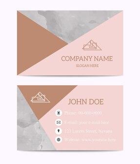 Modello di biglietto da visita in marmo nero bianco oro rosa.