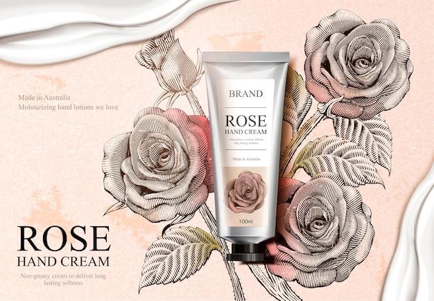 Annunci di crema per le mani alla rosa, prodotto di crema per le mani squisito e consistenza cremosa nell'illustrazione con decorazioni di rose in stile sfumato