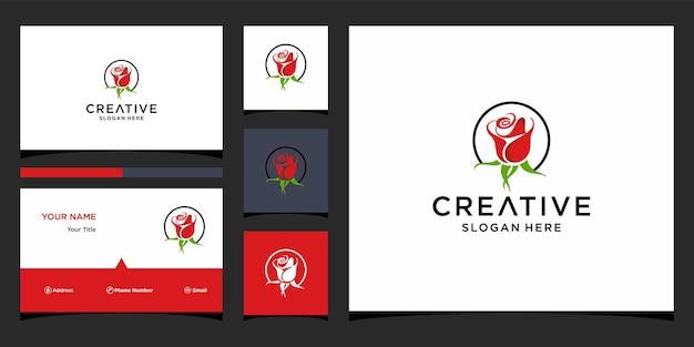 Design del logo rosa con modello di biglietto da visita