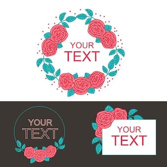 Fiori del testo del modello rosa della rosa