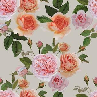 Rose seamless pattern su sfondo bianco