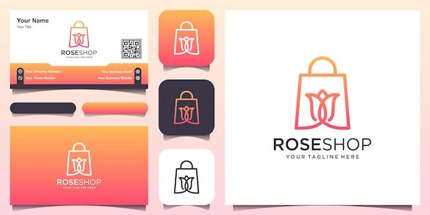 Disegni del logo del negozio di rose modello, borsa abbinata a un fiore.