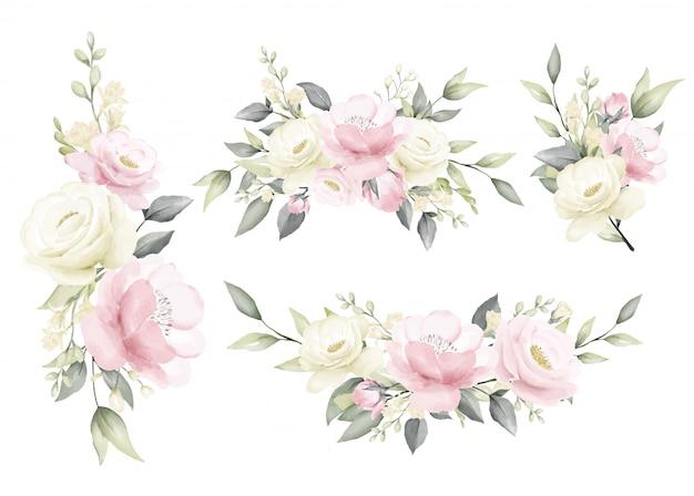 Pittura ad acquerello rosa bouquet di fiori bianco cremoso e rosa