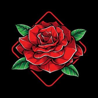 Rosa con sfondo cornice quadrata