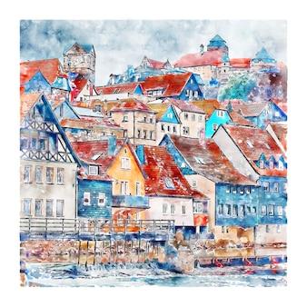Illustrazione disegnata a mano di schizzo dell'acquerello di rosenberg kronach germania