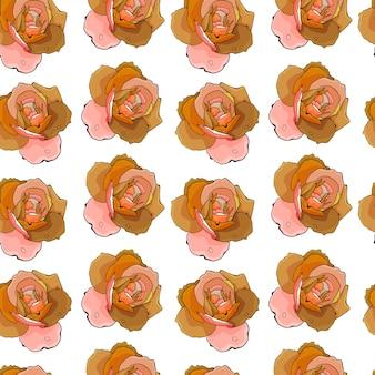 Fondo astratto del modello di schizzo disegnato a mano delle rose