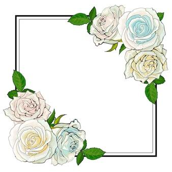 Elementi del mazzo delle rose nello stile di schizzo agli angoli di forma quadrata con lo spazio della copia.