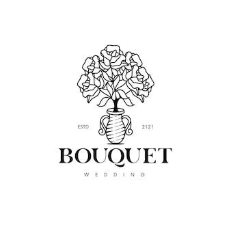Modello di logo di bouquet di rose isolato su bianco