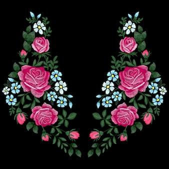 Ricamo di rose con foglie, boccioli e fiori blu. linea etnica al collo, disegno floreale, grafica alla moda. ricamo per t-shirt. imitazione punto raso,.