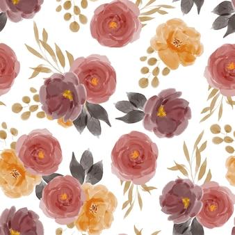 Modello senza cuciture di ripetizione dell'acquerello del mazzo di fiori delle rose