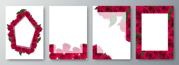 Le rose incorniciano il fondo decorato.