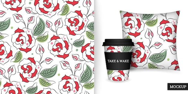 Modello senza cuciture di rose in tazza e cuscino in stile disegnato a mano