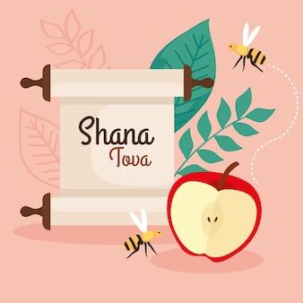 Celebrazione di rosh hashanah, capodanno ebraico, con mela, foglie e api che volano