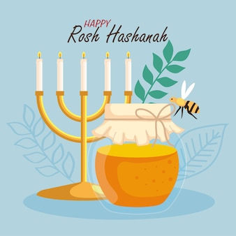 Celebrazione di rosh hashanah, capodanno ebraico, con bottiglia di miele, lampadario e ape che volano