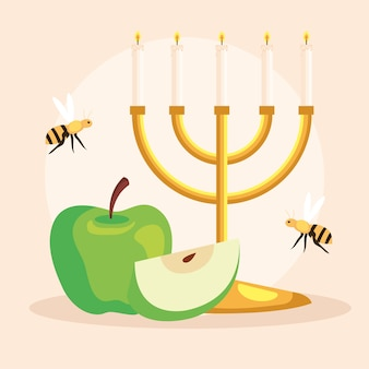 Celebrazione di rosh hashanah, capodanno ebraico, con lampadario, mela e api che volano