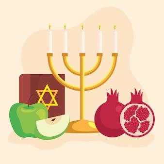 Celebrazione di rosh hashanah, capodanno ebraico, con lampadario e decorazioni