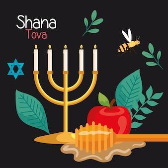 Celebrazione di rosh hashanah, capodanno ebraico, con lampadario, miele, mela e ape