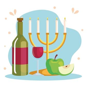 Celebrazione di rosh hashanah, capodanno ebraico, con lampadario, vino e mele