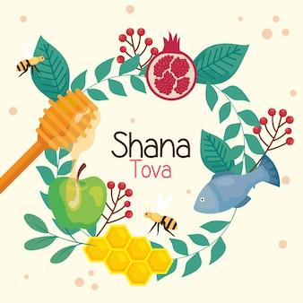 Celebrazione di rosh hashanah, capodanno ebraico, con foglie a cornice rotonda e decorazioni tradizionali