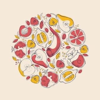 Rosh hashanah festa ebraica di capodanno shana tova composizione rotonda con frutti illustrazione vettoriale