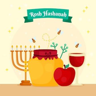 Rosh hashanah con miele e menorah