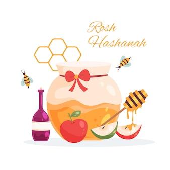 Rosh hashanah con miele Vettore Premium