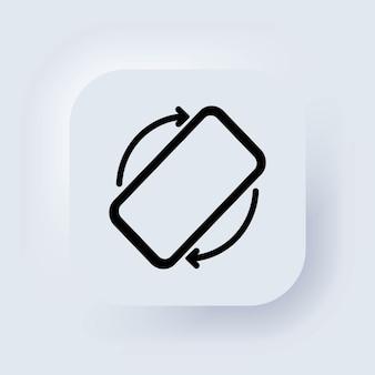 Ruota l'icona del telefono cellulare. rotazione dello schermo mobile. trasforma il tuo dispositivo. ruota l'icona dello smartphone. pulsante web dell'interfaccia utente di neumorphic ui ux bianco. neumorfismo. vettore.
