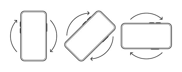 Ruota l'icona smartphone su sfondo bianco. simbolo di rotazione del dispositivo. illustrazione di vettore di linea.