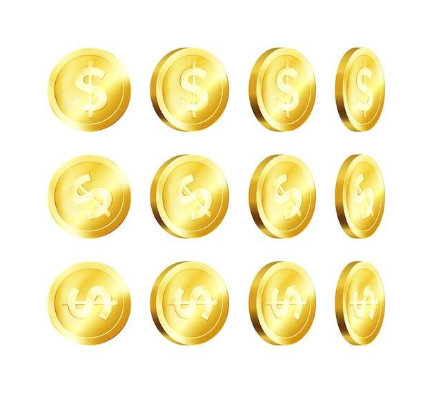 Moneta d'oro metallizzata di rotazione. dollaro d'oro. simbolo aziendale di denaro.